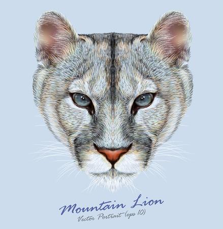 Illustration pour Vector Portrait of a Mountain Lion on Blue background. Cuguar Cat. - image libre de droit