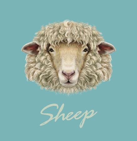 Ilustración de Vector illustrated Portrait of  Ram or sheep on blue background. - Imagen libre de derechos