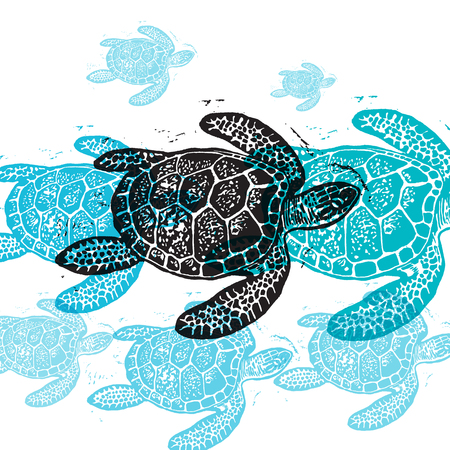 Illustration pour Vector Sea Turtle in abstract composition. Linocut Sea Turtles in different colors on white background - image libre de droit