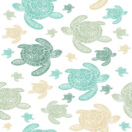 Illustration pour Sea Turtles colourful seamless vector pattern. Realistic engraved style of Sea Turtles on white background. - image libre de droit