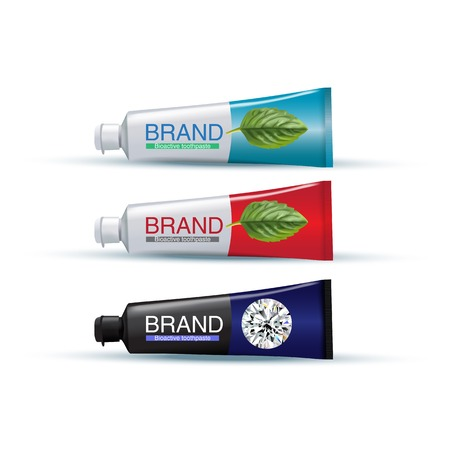 Illustration pour Tube of toothpaste in different colors. Vector illustration of realistic tubes on white background. - image libre de droit