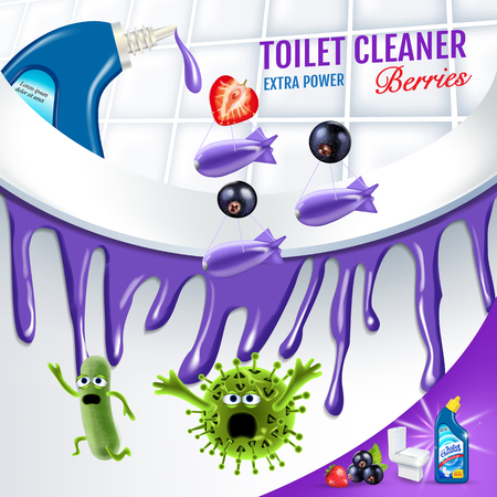Ilustración de Berries fragrance toilet cleaner ads. Cleaner bobs kill germs inside toilet bowl. Vector realistic illustration. - Imagen libre de derechos