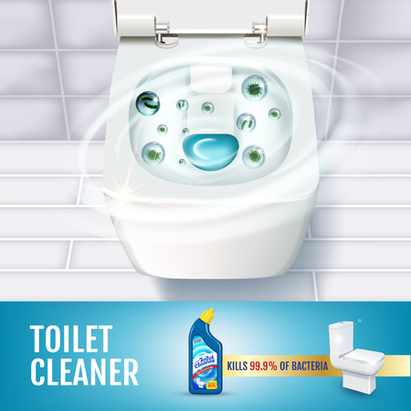Illustration for Fresh fragrance toilet cleaner gel ads. Vector realistic Illustration with top view of toilet bowl and disinfectant container. - Royalty Free Image