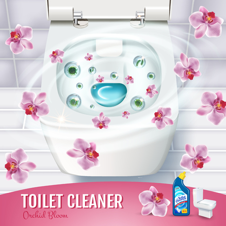 Ilustración de Orchid fragrance toilet cleaner gel ads. Vector realistic Illustration with top view of toilet bowl and disinfectant container. Poster. - Imagen libre de derechos