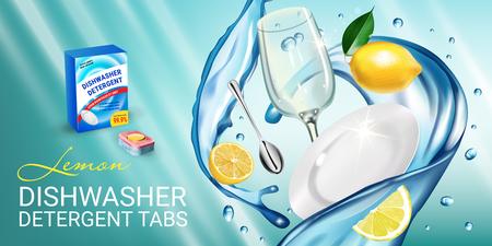 Ilustración de Lemon fragrance dishwasher detergent tabs ads. Vector realistic Illustration with dishes in water splash and citrus fruits. Horizontal banner - Imagen libre de derechos