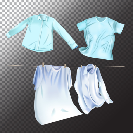 Illustration for Set of realistic clean laundry clothes. Vector isolated clothes objects on transparent background - Royalty Free Image