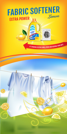 Illustration for Lemon fragrance fabric softener gel ads. Vector realistic Illustration with laundry clothes and softener rinse container. Vertical banner - Royalty Free Image