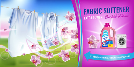 Illustration pour Vector realistic Illustration with laundry clothes and softener rinse container. Horizontal banner - image libre de droit