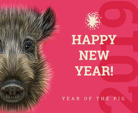 Illustrazione per Happy New Year 2019 year of the pig paper card. Chinese years symbol, Zodiac sign for greetings card, flyers and invitation with boar - Immagini Royalty Free