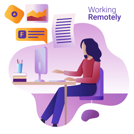 Illustrazione per Work remotely concept. The young woman works remotely at a computer. - Immagini Royalty Free