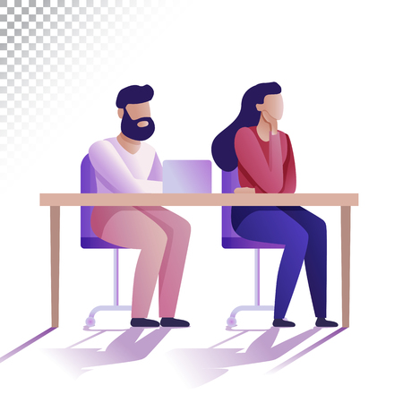 Illustration pour Modern people flat illustration. Young man and woman are sitting at the table. Vector illustration - image libre de droit