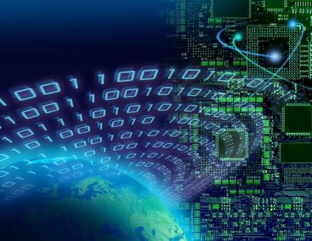 Binary data around globe, circuit board background, global digital technology concept