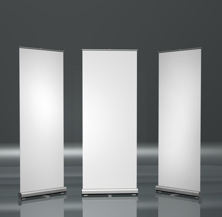 Three blank roll-up posters marketing promotion presentation