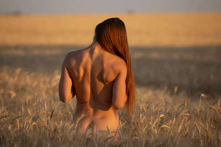 Photo pour Back side of naked body woman on a field, nudes at nature - image libre de droit