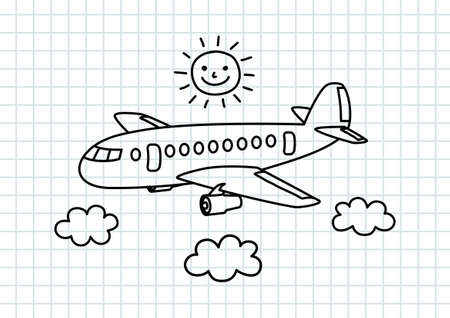 Illustrazione per Aircraft drawing on squared paper - Immagini Royalty Free