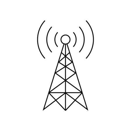 Ilustración de Black transmitter vector icon on white background  - Imagen libre de derechos