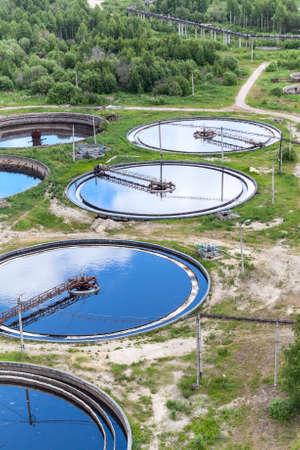 Foto de Group of round water treatment units in ab industrial factory - Imagen libre de derechos