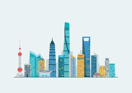 Ilustración de Vector graphics, flat city illustration - Imagen libre de derechos