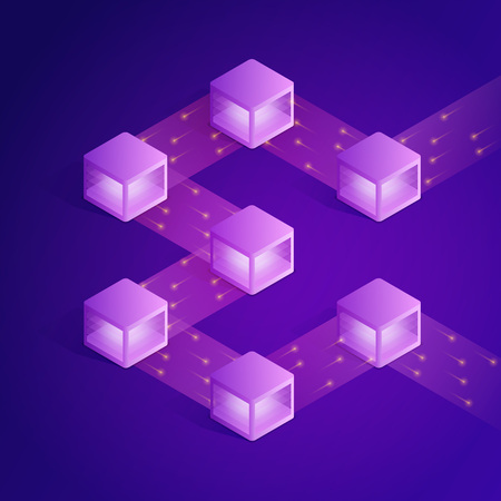 Illustration for Blockchain isometric composition. Modern concept of digital technology - Royalty Free Image
