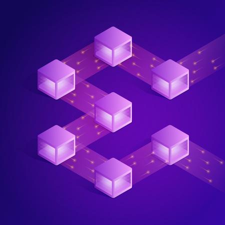 Illustration pour Blockchain isometric composition. Modern concept of digital technology - image libre de droit