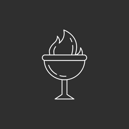 Foto für Goblet of Fire. Magic vector icon. Wizard equipment. Line style - Lizenzfreies Bild