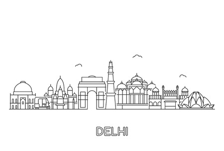 Illustration pour New Delhi skyline. Line art illustration with famous buildings. - image libre de droit