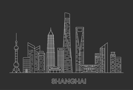 Illustration pour Shanghai city skyline. Vector line art illustration - image libre de droit
