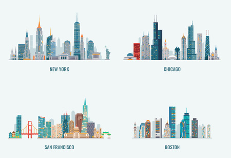Illustration for USA cities skylines set. New York, Chicago, San francisco, Boston. Detailed cities silhouette - Royalty Free Image