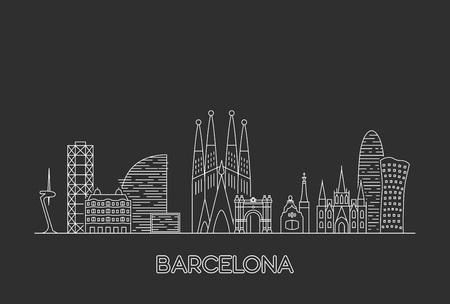 Ilustración de Barcelona city skyline. Line art style illustration - Imagen libre de derechos