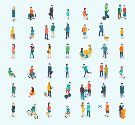 Ilustración de Different isomeric people vector set. Vector illustration. - Imagen libre de derechos