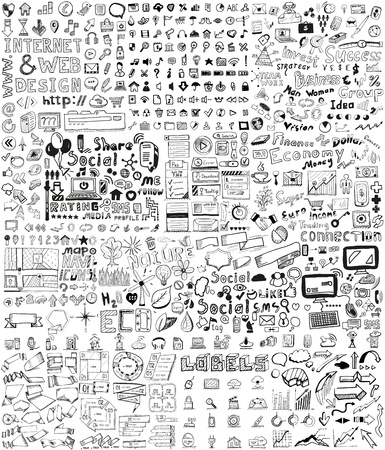 Ilustración de Huge set of business, social, technology hand drawn elements / doodles - Imagen libre de derechos
