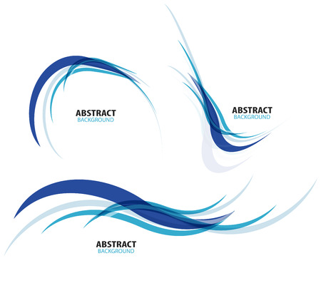 Ilustración de Set of flowing blue wave lines - Imagen libre de derechos