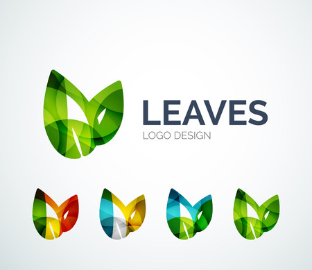 Illustration for Eco leaves logo design made of color pieces - Royalty Free Image