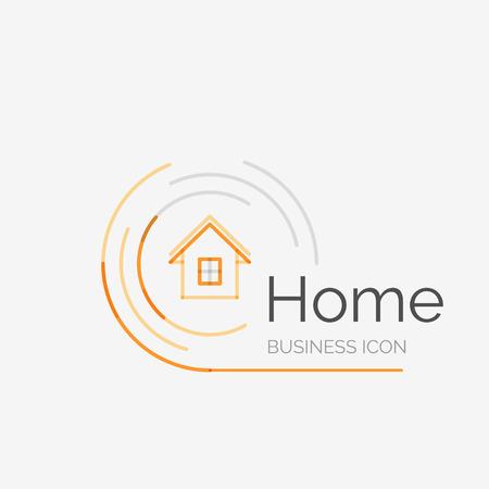 Ilustración de Thin line neat design logo, home idea - Imagen libre de derechos