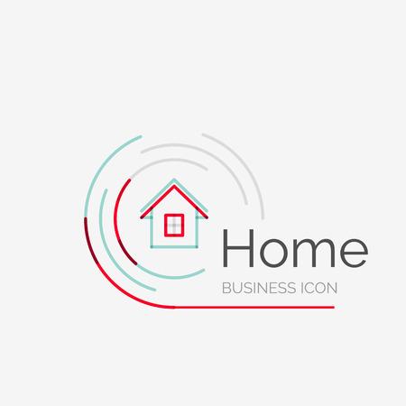 Ilustración de Thin line neat design logo, clean modern concept, home, house idea - Imagen libre de derechos