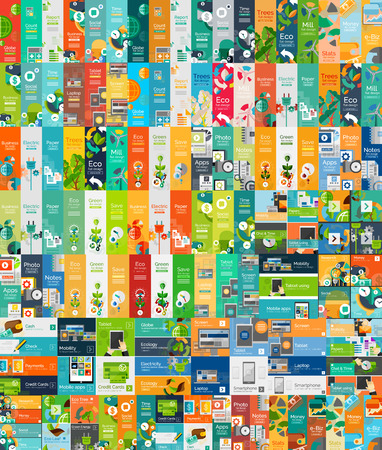 Illustration pour Mega collection of flat web infographic concepts - image libre de droit