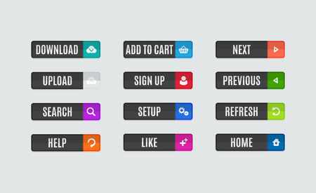 Illustration pour Set of modern flat design website navigation buttons. Rectangle shape. Help like search download upload setup sign up add to cart next previous refresh home icons - image libre de droit