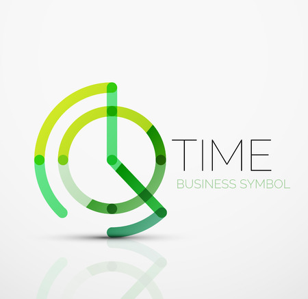 Illustration pour Vector abstract logo idea, time concept or clock business icon. Creative logotype design template made of overlapping multicolored line segments - image libre de droit