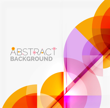 Illustration for Geometric design abstract background - multicolored circles with shadow effects. Fresh business template - Royalty Free Image