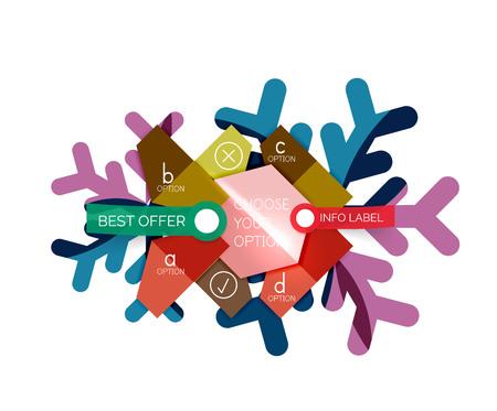Ilustración de Christmas infographic business templates - geometric paper shapes with text and options on snowflake - Imagen libre de derechos