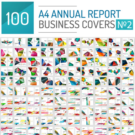 Illustrazione per Mega collection of 100 business annual report brochure templates, A4 size covers created with geometric modern patterns - squares, lines, triangles, waves - Immagini Royalty Free