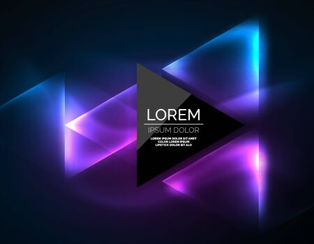 Illustration pour Color neon glowing triangles, abstract background. Vector techno glowing space with triangles and your message. Hi-tech wallpaper illustration. - image libre de droit