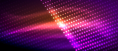 Photo for Neon light effects, particles, big data illustration concept, vector, purple color - Royalty Free Image