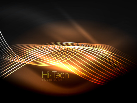 Ilustración de Elegant neon flowing stripes, smooth waves with light effects. - Imagen libre de derechos