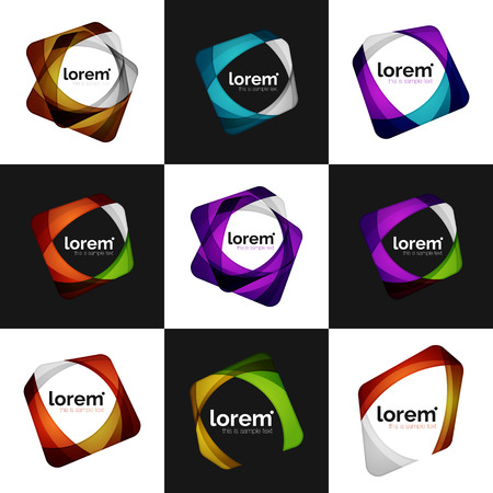 Illustration for Set of vector overlapping shapes business emblems, vector abstract icons - Royalty Free Image