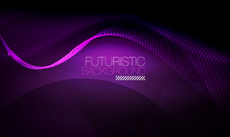 Ilustración de Smooth neon wave, futuristic background. - Imagen libre de derechos