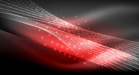 Ilustración de Straight lines on glowing shiny neon dark background. Smooth light effect, Energy technology idea. - Imagen libre de derechos