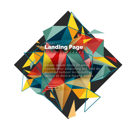 Foto de Triangular design abstract background, landing page. Low poly style colorful triangles on white - Imagen libre de derechos