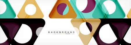 Illustration pour Geometric background, circles and triangles shapes banner. Illustration for business brochure or flyer, presentation and web design layout - image libre de droit