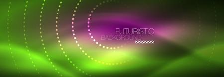 Illustration pour Green neon dotted circles background - image libre de droit
